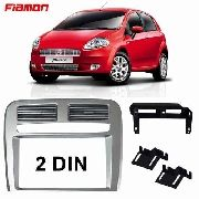 Moldura Painel Dvd Multimídia 2 Din Fiat Punto 2008/2012 Prata AP1104 - SONNIC SOUND