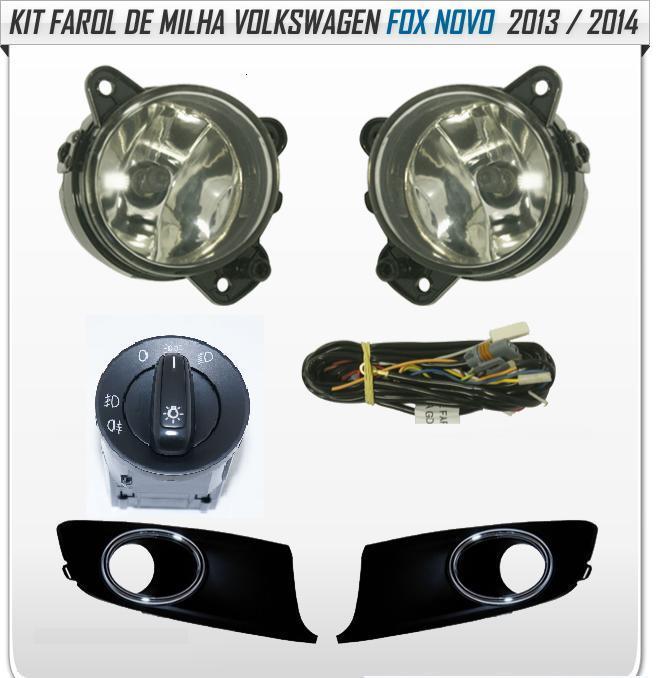 Kit Farol de Milha/Neblina Novo Fox/Space Fox 2013/2014 c/ Aro Cromado - SONNIC SOUND