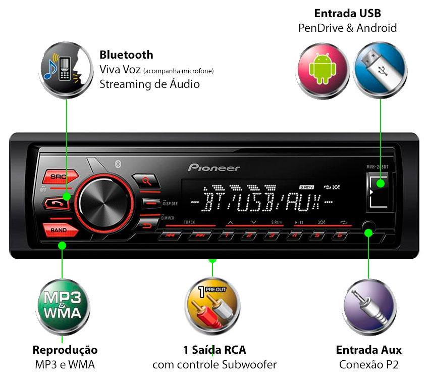Media Receiver Pioneer Mvh-288bt Usb Bluetooth - SONNIC SOUND
