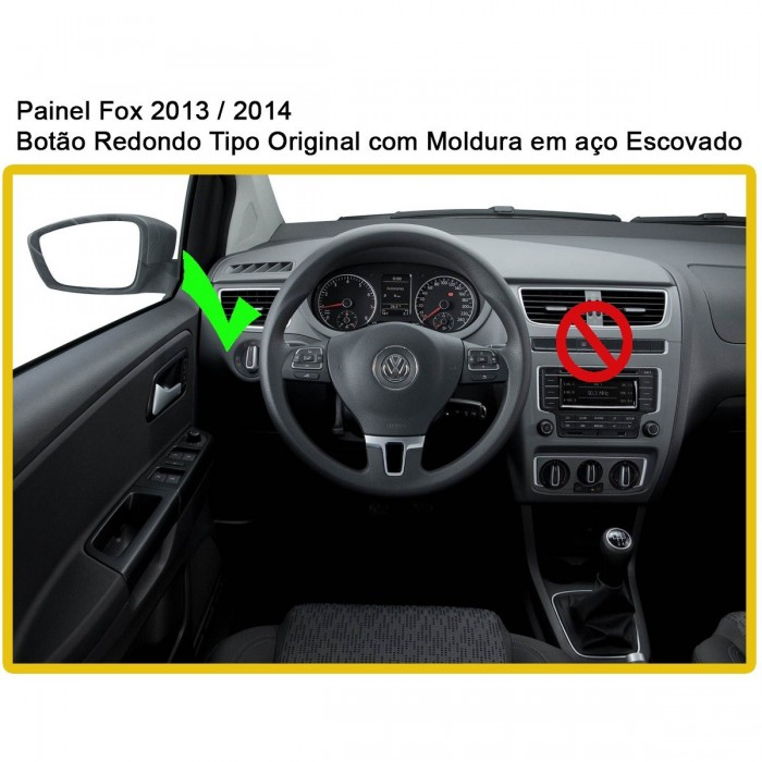 Kit Farol Milha Neblina Fox 2014 Moldura Aro Cromado Botão tipo Original - SONNIC SOUND