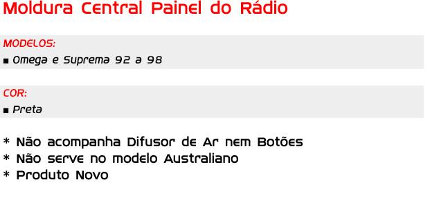 Moldura Central Painel Rádio Omega E Suprema 92/98 AP540 - SONNIC SOUND