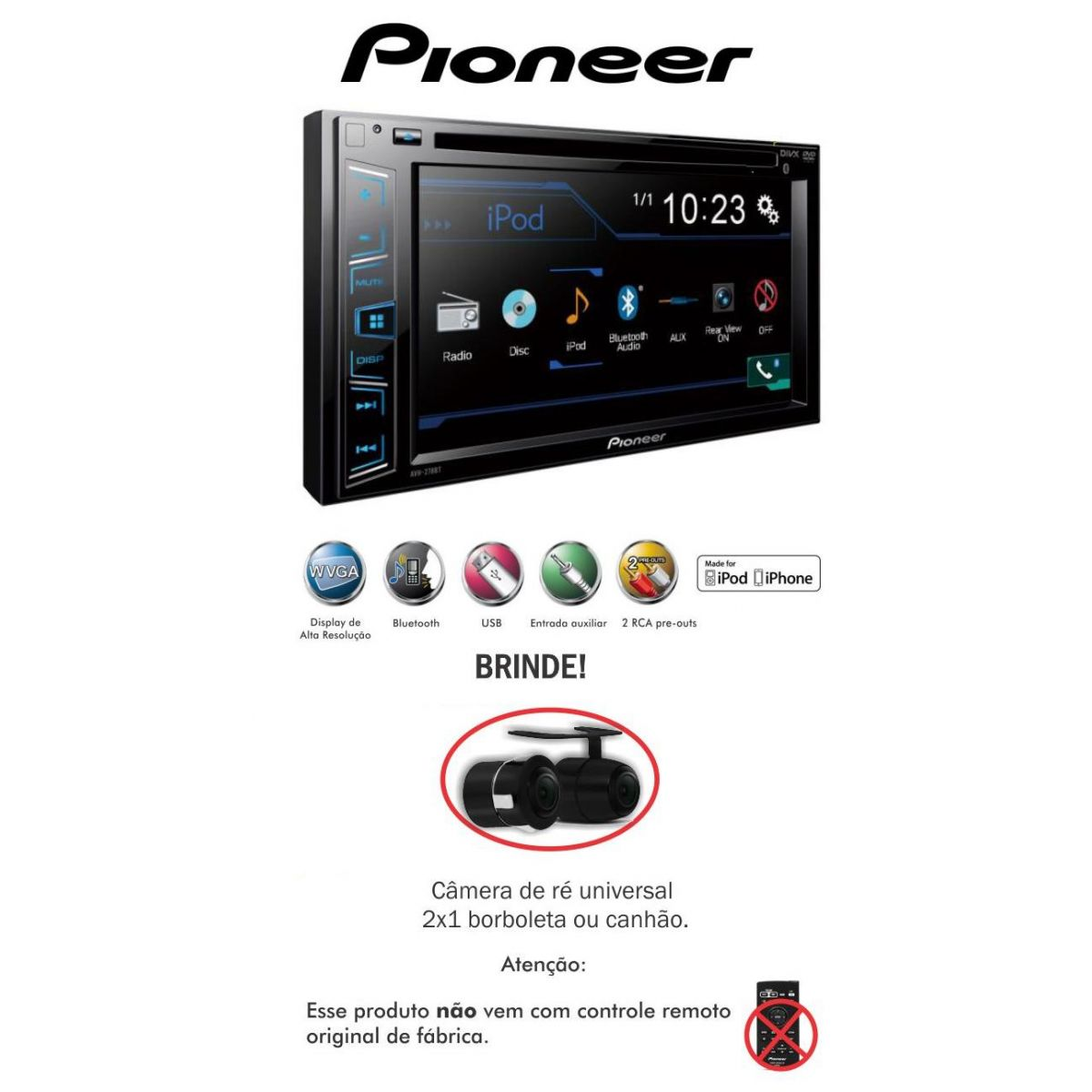 Dvd Player Pioneer Avh-278bt Bluetooth-tela 6.1 Usb+ Camera - SONNIC SOUND