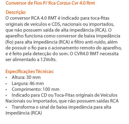 Conversor Adaptador De Fios Para Rca Corzus Cvr 4.0 Rmt - SONNIC SOUND