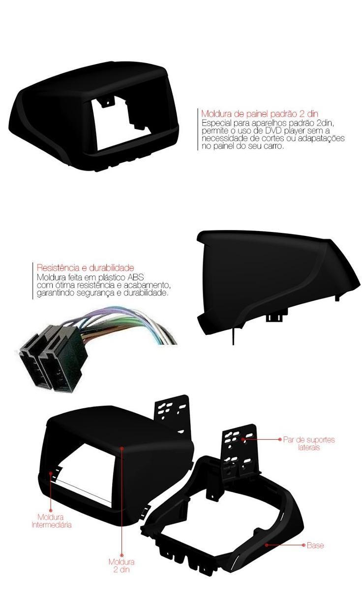 Moldura Painel DVD 2 Din Fiat Doblo Preta Completa AP825 - SONNIC SOUND