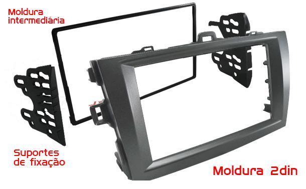 Moldura Painel DVD 2din Corolla 2009/2010/2011/2012/2013/2014 Cinza AP523 - SONNIC SOUND