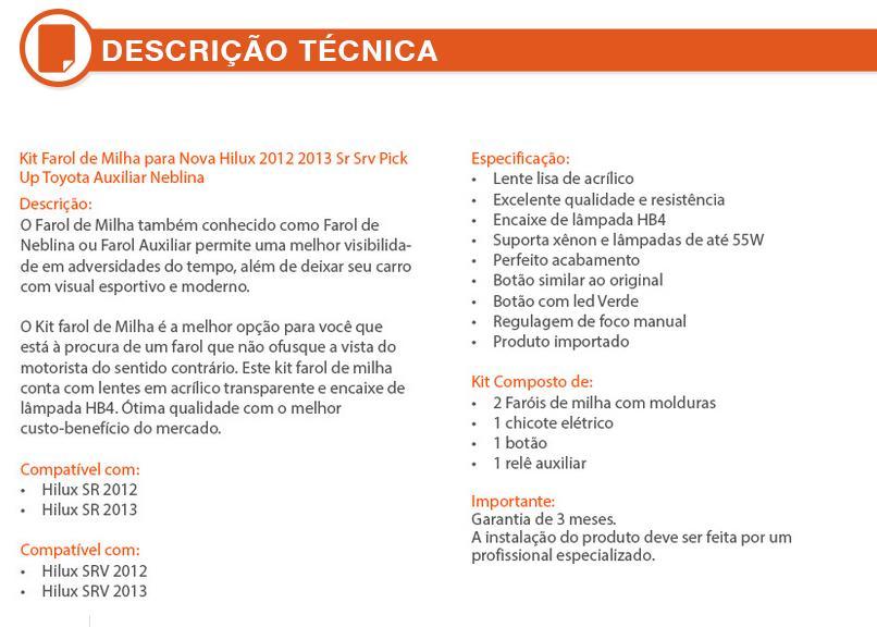Kit Farol Milha/Neblina Hilux/SRV 2012/2013/2014 Completo - SONNIC SOUND