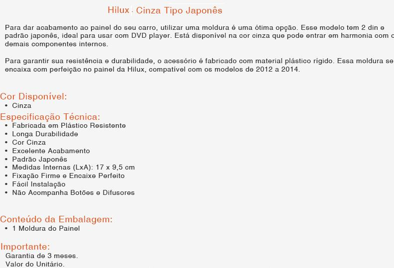 Moldura Painel DVD 2 Din Hilux/SW 2012/2013/2014/2015 AP669 - SONNIC SOUND