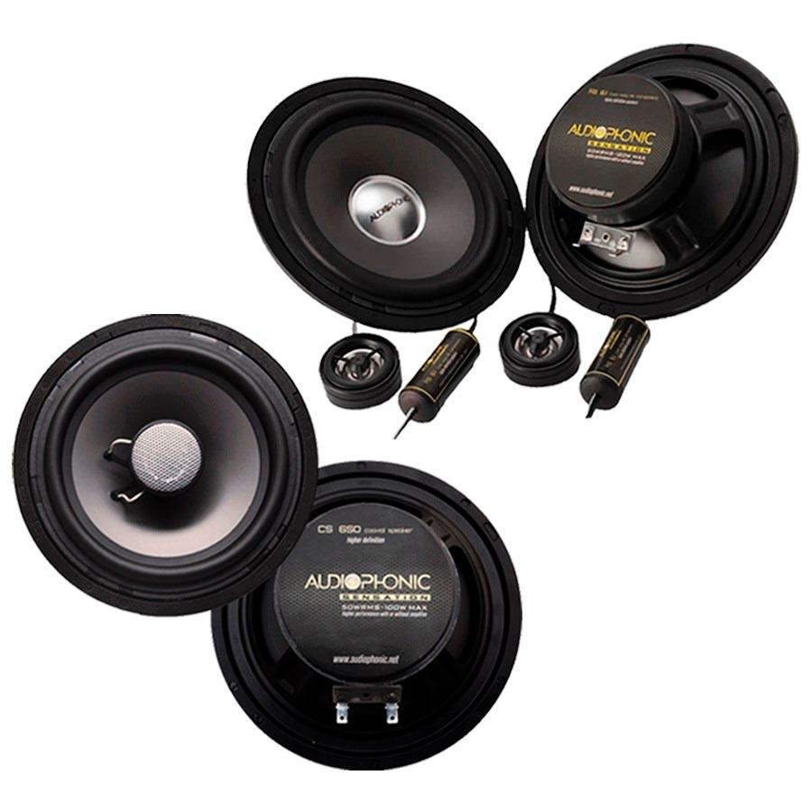 Alto Falante Coaxial Cs650/V2 Audiophonic Par 6 Pol 200w + Kit 2 Vias Ks6.1 Audiopnonic 6 Pol 120w - SONNIC SOUND