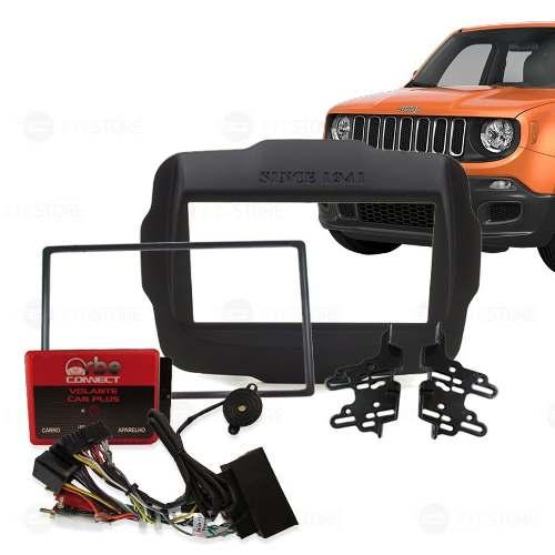 Moldura Painel Dvd 2 Din Jeep Renegade AP874 +interface Volante Orbe com Buzzer - SONNIC SOUND