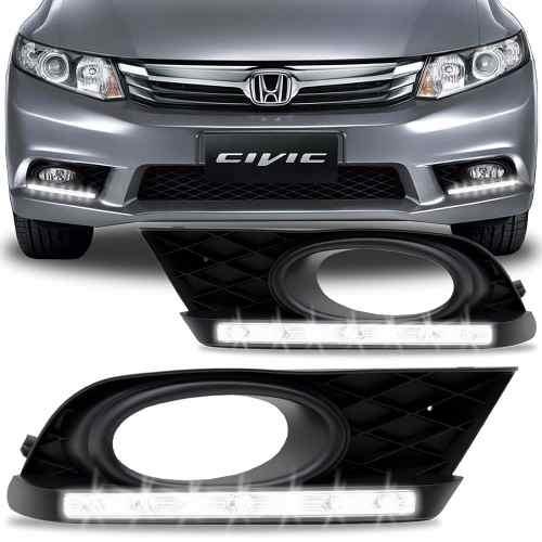 Par Drl Honda Civic 2012/2013/2014 Com Moldura para Milha - SONNIC SOUND