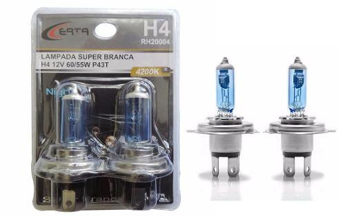 Par Lampada Super Branca H4/h8 4200k Cruze 55w Com Inmetro - SONNIC SOUND