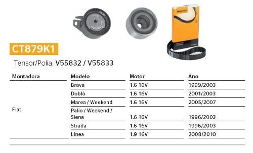 Kit Correia Dentada+polia+tensor 1.6 16v Brava, Doblo, Marea, Palio, Weekend, Siena, Strada e Linea Contitech CT879K1 - SONNIC SOUND