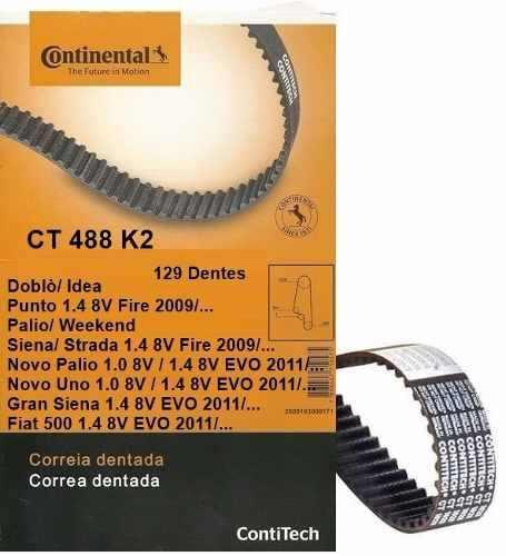 Kit Correia Dentada +tensor Fiat Novo Uno/Novo Palio/Grand Siena/Fiat 500 1.4 8v 2012 Original Contitech CT488K2 - SONNIC SOUND