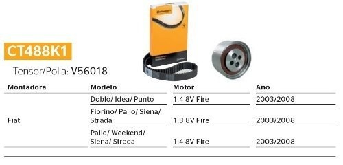 Kit Correia Dentada E Tensor Doblo/Idea/Punto/Fiorino/Palio/Siena/Strada/Weekend 1.3 1.4 8v Fire Original CT488K1 - SONNIC SOUND
