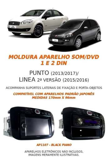 Moldura Painel Multimídia Dvd 1/2 Din Punto 2013/2017 Línea 2015/2016 Black Piano AP1107 - SONNIC SOUND