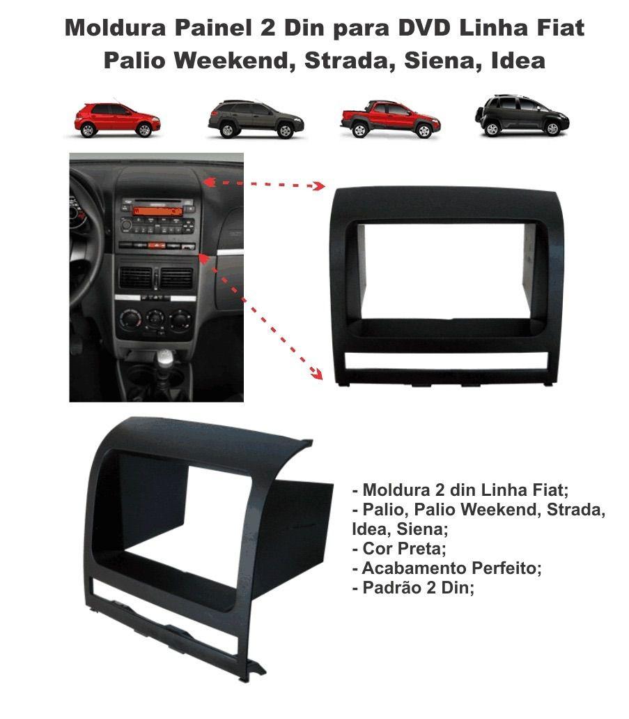 Moldura de Painel Palio Strada Siena Weekend Idea para Instalção Dvd 2 Din Preta AP515 - SONNIC SOUND