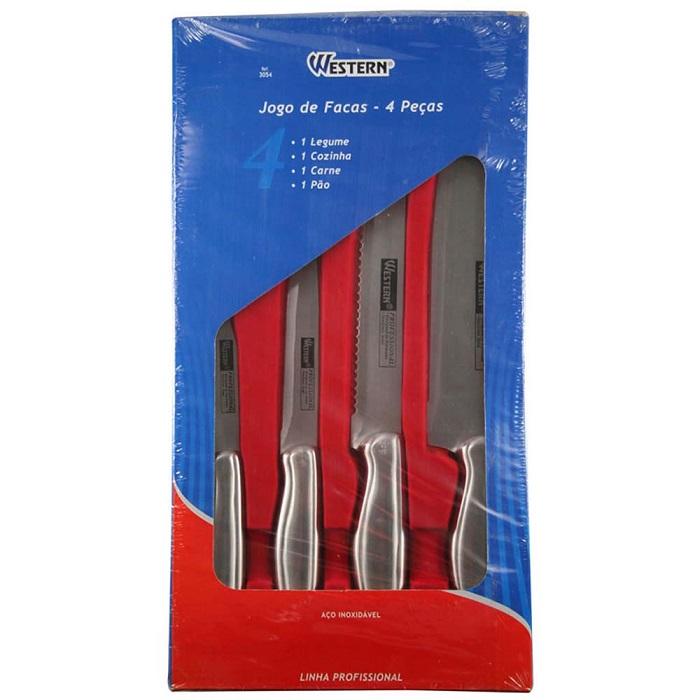Jogo De Facas Em A�o Inox Kit Com 4 Pe�as Para P�o Carne Legumes e Cozinha Western 3054  - MGCOMPUTERS