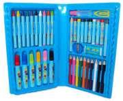 Estojo Maleta Escolar c/ Lápis Canetinhas Giz 48 Peças Azul GD48