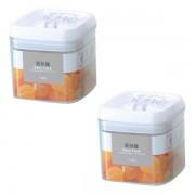 Conjunto de Potes Herm�ticos Em Acr�lico Transparente Para Mantimento Jogo Com 2 Potes de 1L PC192