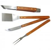 Conjunto Para Churrasco Kit Com 4 Peças Faca Pegador Garfo e Espátula Mundial Gourmet 1500-4B