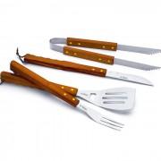 Conjunto Para Churrasco Kit Com 4 Peças Faca Pegador Garfo e Espátula Mundial Gourmet 1501-4