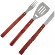 Conjunto Para Churrasco Kit Com 3 Peças Faca Garfo e Espátula Mundial Gourmet 1501-3