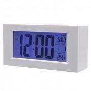 Relógio De Mesa Digital Com Despertador Termômetro e Dígitos Grandes 820 Branco
