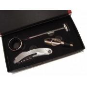 Conjunto Para Vinho Kit Com 4 Peças Saca Rolhas Aerador Corta Pingos e Termômetro SX315