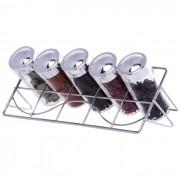 Porta Temperos E Condimentos 5 Potes Em Vidro Com Suporte Cromado Art House BS1485