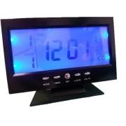 Relógio De Mesa Digital Com Despertador Temperatura Calendário E Luz De Fundo 8082 Preto