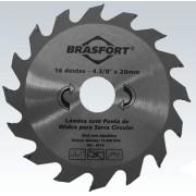 Disco De Serra Circular Para Madeira Lâmina Com 16 Dentes De Widea 4 3/8 Polegadas Furo 20mm Brasfort 8315