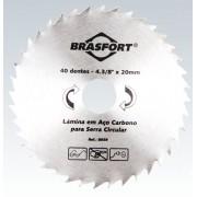 Disco De Serra Circular Para Madeira Lâmina Com 40 Dentes 4 3/8 Polegadas Furo 20mm Brasfort 8659