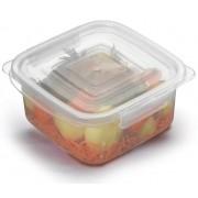 Kit 10 Potes Quadrados Com Tampa E Travas Para Micro-ondas E Freezer 1,8l Grande Nitron 037/7