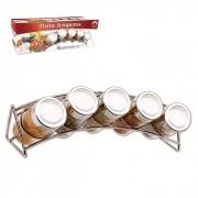 Porta Temperos E Condimentos 5 Potes Em Vidro Com Suporte Cromado Art House BS1486