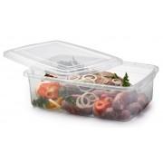 Pote Plástico Retangular Com Tampa Para Micro-ondas E Freezer 7,9l Premium Nitron 196