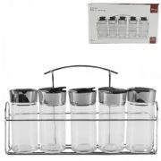Porta Temperos E Condimentos 5 Potes Em Vidro Com Suporte Cromado Wincy VDA05002