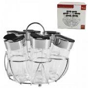 Porta Temperos E Condimentos 6 Potes Em Vidro Com Suporte Cromado Wincy VDA05003