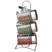 Porta Temperos E Condimentos 6 Potes Em Vidro Com Suporte Cromado Wincy VDA0426