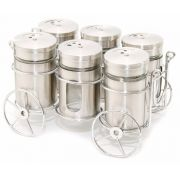 Porta Temperos E Condimentos 6 Potes Em Vidro Com Suporte Cromado Wincy VDA05001