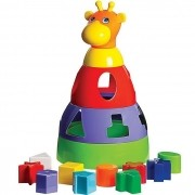 Girafa Didática Colorida Com Blocos Geométricos De Encaixar Merco Toys 291