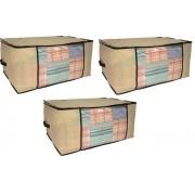 Kit 3 Organizadores Porta Edredom Em TNT Com Zíper E Frente Transparente Para Closet E Guarda Roupas Western 9020