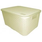 Cesto Organizador Caixa Plástica Rattan 16 Litros Nitron 069 Branco