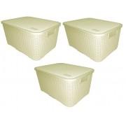 Kit 3 Cestos Organizadores Caixa Plástica Rattan 16 Litros Nitron 069 Branco