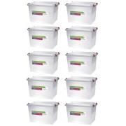 Kit Com 10 Caixas Organizadoras Plásticas Pratic Box 20 Litros Paramount 151