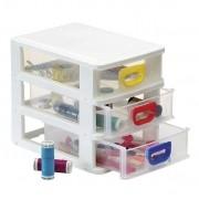 Gaveteiro Plástico Organizador Com 3 Gavetas Porta Tudo Mini Monte Líbano MP1210 Branco