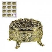 Kit 12 Lembrancinhas Porta Joias Redondo Dourado Art House XC909