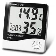 Termo-higrômetro Digital Termômetro E Higrômetro De Máxima E Mínima Com Relógio HTC1