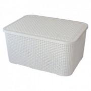 Caixa Organizadora Plástica Cesto Rattan Branca 7 Litros Monte Líbano CR1825