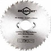Disco De Serra Circular Para Madeira Lâmina Com 60 Dentes 4 3/8 Polegadas Furo 20mm Brasfort 8660