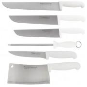 Kit 3 Facas Açougueiro Para Carne 8 10 12 Pol Chaira 8 Polegadas Faca De Desossar E Cutelo Western